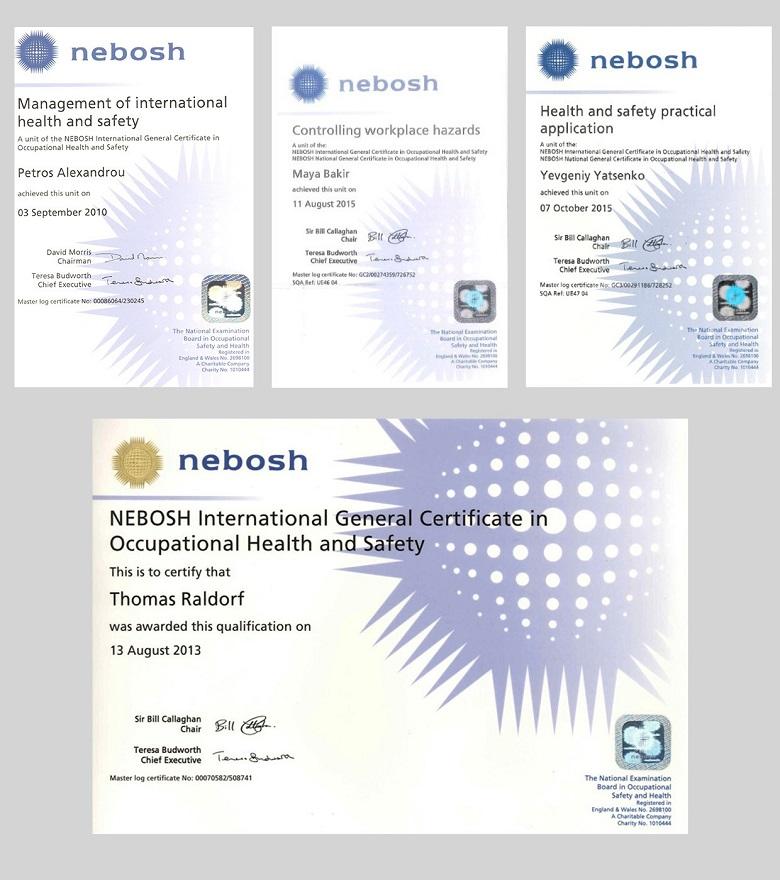 Сертификаты NEBOSH